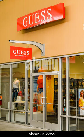 SEATTLE, WA, USA - JUNE 2018: Exterior view of the Guess Accessories store at the Premium Outlets shopping mall near Seattle. - Stock Photo