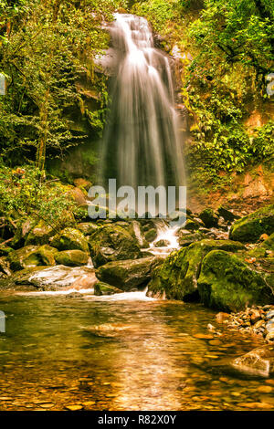 The Lost Waterfall located on the slopes of Volcan Baru near Boquete in Panama. There are three waterfalls on this trail. It is fall number three. - Stock Photo