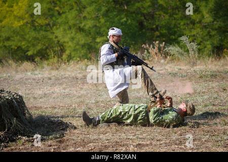 Mujahid attacks the Soviet soldier - Stock Photo