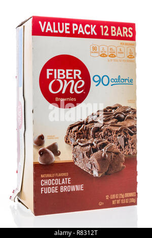 Winneconne, WI - 10 December 2018: A package of Fiber one brownies on an isolated background. - Stock Photo