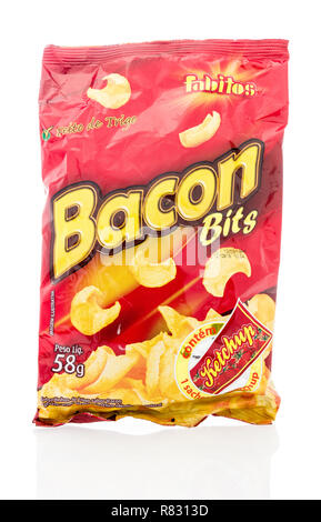 Winneconne, WI - 10 December 2018: A package of Fabitos bacon bits with ketchup chips on an isolated background. - Stock Photo