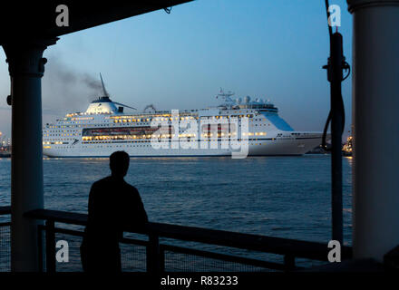 Gravesend, Kent, United Kingdom. 11th December, 2018. CMV cruise ship Columbus seen from historic Gravesend Town Pier as she departs from Tilbury for a short cruise Christmas Market cruise to Europe. Rob Powell/Alamy Live News - Stock Photo