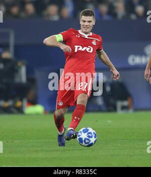 firo Football, 11.12.2018 Champions League FC Schalke 04 - Lokomotiv Moscow 1: 0 Igor Denisov, single action | usage worldwide - Stock Photo