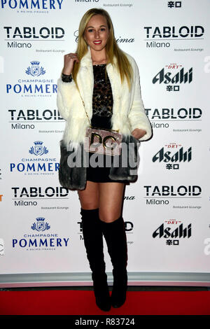 Milan, Italy. 12th Dec, 2018. Milan, 'Tabloid' restaurant inauguration In the picture: Raffaella Cafagna Credit: Independent Photo Agency/Alamy Live News - Stock Photo