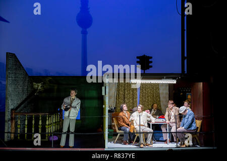 Berlin, Germany. 12th Dec, 2018. Actors appear at the Volksbühne during the photo rehearsal of the play 'Haußmanns Staatssicherheitstheater' by Leander Haußmann. Credit: Christoph Soeder/dpa/Alamy Live News - Stock Photo