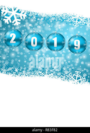 happy new year 2019 illustration with snowflakes and blue balls christmas and winter background