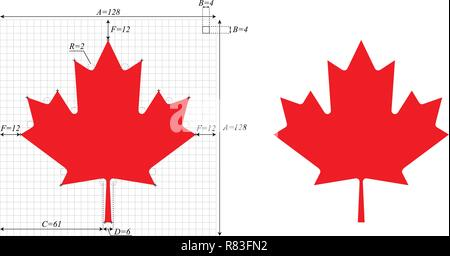 Canadian Maple Leaf, with construction sheet - Stock Photo