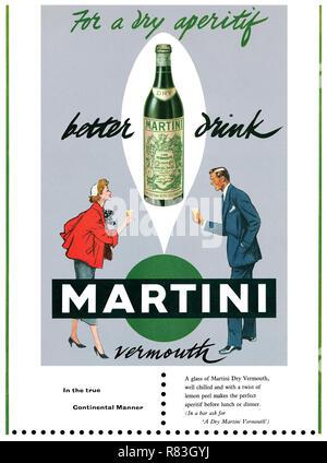 1955 British advertisement for Martini Dry Vermouth. - Stock Photo