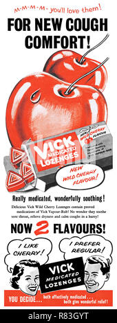 1955 British advertisement for Vick Medicated Lozenges for sore throats. - Stock Photo