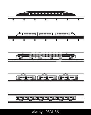 Different types of passenger trains - vector illustration - Stock Photo