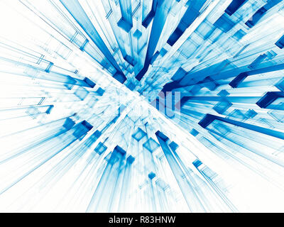 Abstract  white and blue background - computer-generated 3d illustration. Backdrop with perspective - future city, data science or sci-fi concept. For - Stock Photo