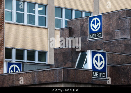 MONTREAL, CANADA - NOVEMBER 6, 2018: Blue Signs indicating a subway station with its distinctive logo on the Montreal metro system, managed by the STM - Stock Photo