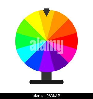 Wheel of Fortune in flat design. Vector Illustration. Lottery icon isolated - Stock Photo