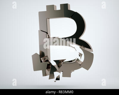 Black bitcoin symbol with cracks on grey background. 3d render, 3d animation - Stock Photo