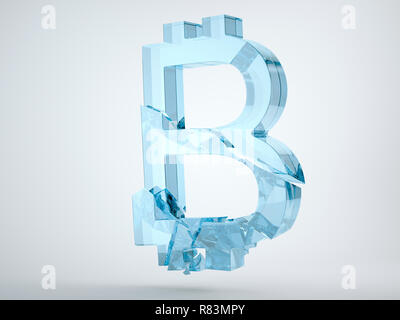 Glass bitcoin symbol shattered and broken on grey background. 3d render, 3d animation - Stock Photo