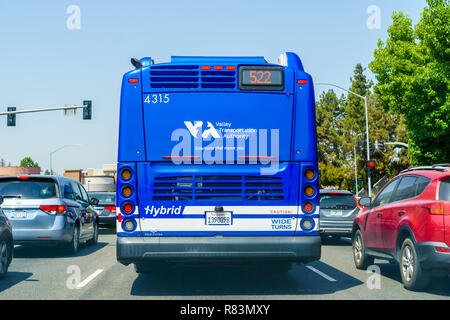 August 13, 2018 Sunnyvale / CA / USA - VTA (Santa Clara Valley Transport Authority) Bus driving on a street in south San Francisco bay area - Stock Photo