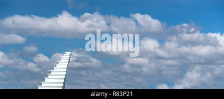 Ladder Paradise leading up to the sky. Development Motivation Business Career Heaven Growth Concept - Stock Photo
