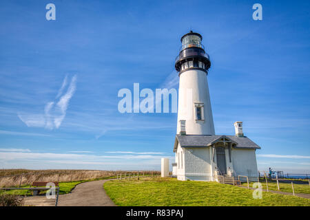 Yaquina Head Lighthouse, Newport, Oregon. The Lighthouse, at 93 feet (28 m) tall, is the tallest lighthouse in Oregon.