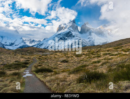 Hiking trail in Torres del Paine National Park in Chile - Stock Photo