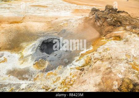 Colorful mud pools at Hverir, myvatn Iceland - Stock Photo