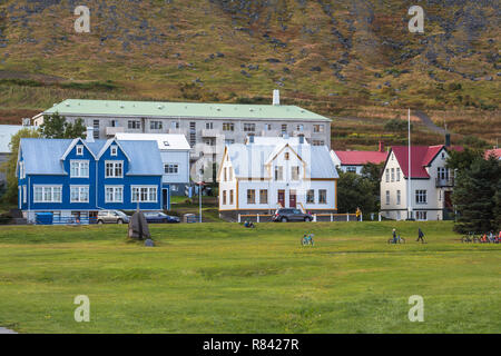 Typical houses in icelandic town Isafjordur - Stock Photo
