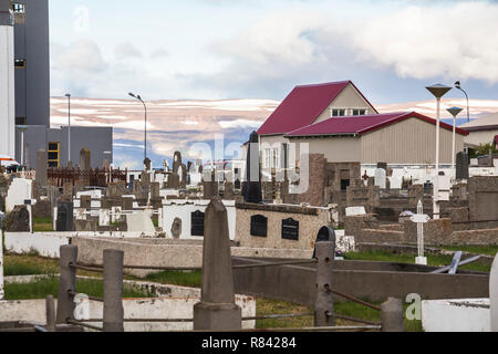 Graveyard in town of Isafjordur in Iceland - Stock Photo