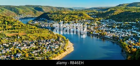 Aerial view of Filsen and Boppard towns with the Rhine in Germany - Stock Photo