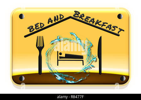 Illustration of a road sign with gradient background. Concept of bed and breakfast. - Stock Photo