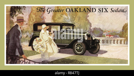 1927 Advertisement watercolour illustration by General Motors for The Greater Oakland Six Landau Sedan Automobile Motor Vehicle - Stock Photo