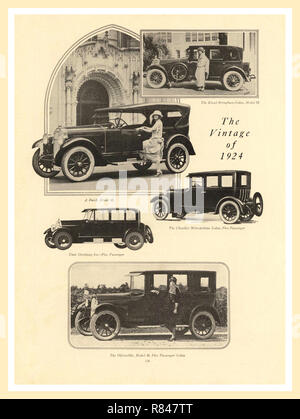 1924 vintage press advertisement for a selection of five of the best American Automobiles for sale The Kissel Brougham Sedan Model 55/ Buick Model 45/The Chandler Metropolitan Sedan 5 Passenger/Stutz Speedway 6 5 passenger/The Oldsmobile Model 30 5 Passenger Sedan - Stock Photo