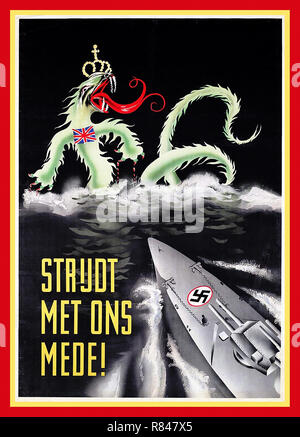 """Vintage WW2 1940's Nazi Propaganda Poster for Holland in Dutch  """"Fight With Us!"""" Illustrating a modern Nazi Swastika Battleship surging through the waves towards a British Sea Devil with crown and Union Jack insignia - Stock Photo"""