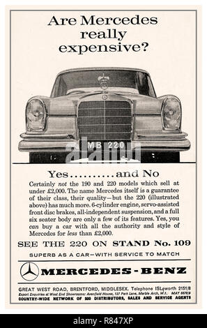 1964 vintage historic old Mercedes 220 Press Advertisement for the Mercedes stand at the UK Earls Court Motor Show - Stock Photo