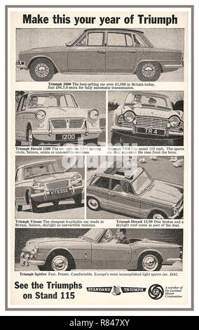 1964 Earls Court Motor Show press advertisement for the British Leyland Triumph Standard Motorcar range: Triumph 2000/ Triumph Herald 1200/ Triumph TR4/ Triumph Vitesse/ Triumph Herald/ Triumph Spitfire - Stock Photo