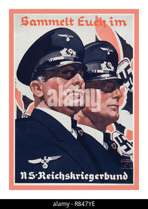 1939 Nazi Germany WW2 veterans association Propaganda Postcard Poster World War 2 - Stock Photo