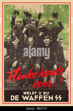 WAFFEN SS Vintage WW2 1944 Dutch propaganda recruiting poster inviting volunteers to join the Nazi German Waffen SS: 'Your place is still vacant in the Waffen SS. Enlist to the Waffen SS' Nazi Recruitment in Holland World War II Second World War - Stock Photo