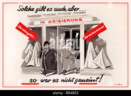 """Vintage 1930's Nazi Germany NSDAP Antisemitic propaganda poster """"You Have People Who Do This to You, Too...But It Wasn't Meant to Be That Way"""" (Solche Gibt es auch, aber...So war es nicht gemeint!). Caricatured image of a German businessman entering the revolving door of a garment goods store. This entrance is marked with the label: [As This One Enters] and the exit, where a caricatured businessman leaves, is marked: [The Other One Gets Out.] Issued by the NSDAP. Nazi Germany 1930's propaganda - Stock Photo"""