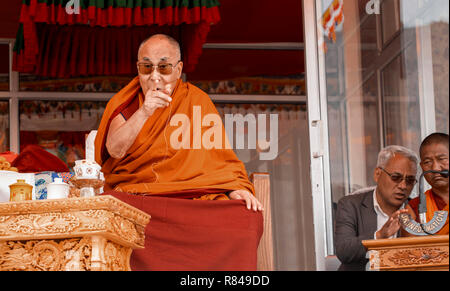 His Holiness the 14th Dalai Lama giving a speech during his visit to the Spring Dales Public School in Mulbekh, Ladakh, Jammu and Kashmir, India, July - Stock Photo