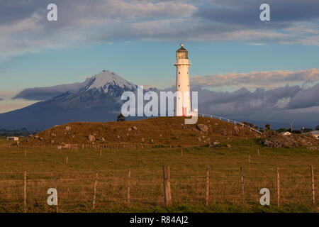 Mount Taranaki, Cape Egmont Lighthouse, New Plymouth, North Island, New Zealand - Stock Photo