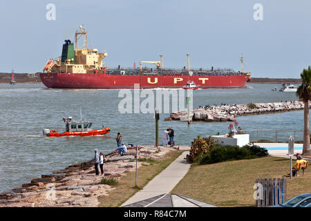 Liquid Bulk Tanker 'Mount Hope', UPT maneuvering Corpus Christi Shipping Channel, Harbor Pilot, U. S. Coast Guard. - Stock Photo