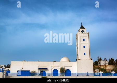 Alghfran Mosque in the beautiful town of Sidi Bou Said in Tunisia - Stock Photo