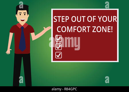 Word writing text Step Out Of Your Comfort Zone. Business concept for Do different things leave the routine Man with Tie Standing Talking Presenting B
