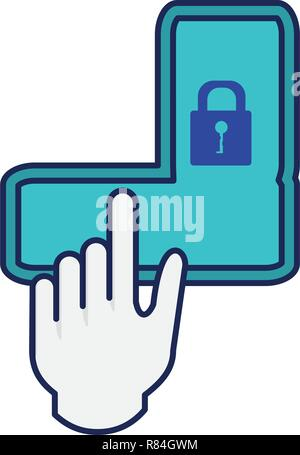 unlock pattern with hand vector illustration design - Stock Photo