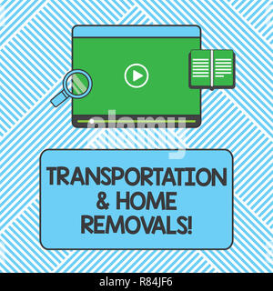 Handwriting text writing Transportation And Home Removals. Concept meaning Moving shipping packages new house Tablet Video Player Uploading Downloadin - Stock Photo