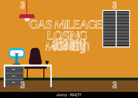 Writing note showing Gas Mileage Losing Money. Business photo showcasing Long road high gas fuel costs financial losses Minimalist Interior Computer a - Stock Photo