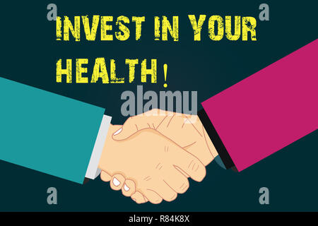 Text sign showing Invest In Your Health. Conceptual photo Spend money in demonstratingal healthcare Preventive Tests Hu analysis Shaking Hands on Agre - Stock Photo