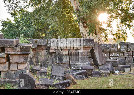 View on the ruins of the Vat Phou temple complex UNESCO World Heritage Site at sunrise time - Stock Photo