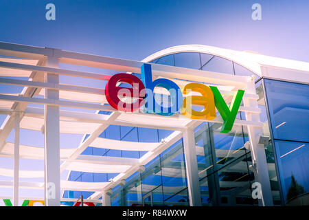 San Jose, California, USA - May 21, 2018: eBay's headquarters campus, Welcome center named Main Street. eBay Inc is a global e-commerce leader - Stock Photo