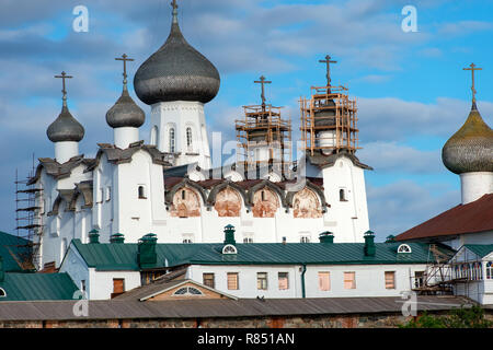 Spaso-Preobrazhensky cathedral of the Solovetsky Monastery in the summer from the Bay of well-being, Russia - Stock Photo