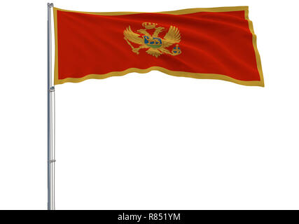 Isolate flag of Montenegro on a flagpole fluttering in the wind on a white background, 3d rendering - Stock Photo