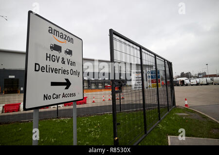 direction signs outside knowsley amazon depot merseyside england uk - Stock Photo